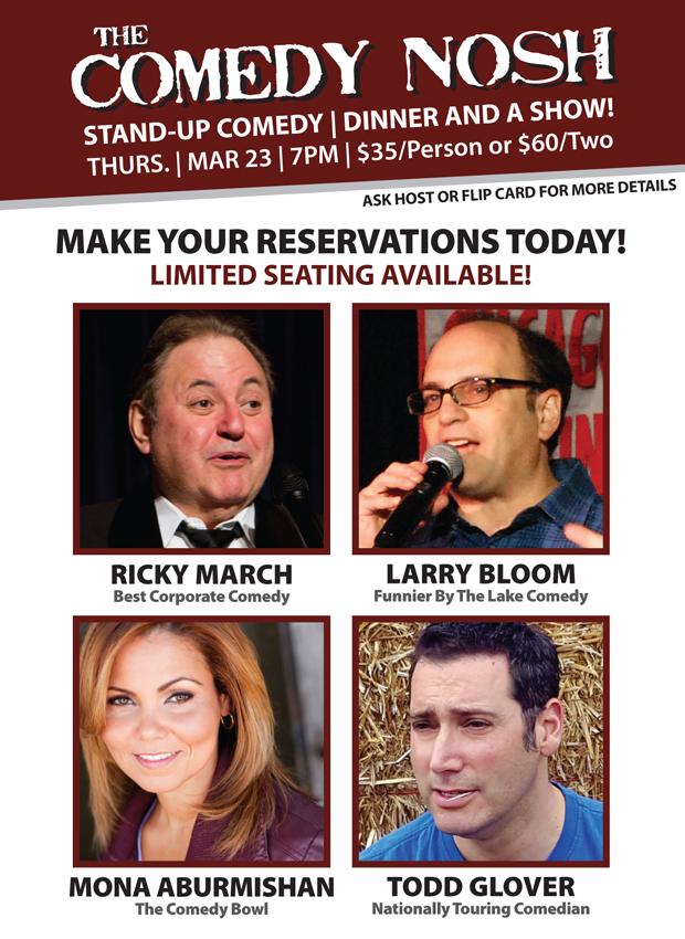 Comedy Nost at Max and Benny's Restaurant Northbrook